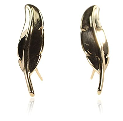 14K Yellow Gold Feather Ear Climber Earrings 22mm by ugems