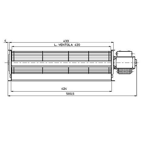 /emmevi fergas 114612 Motor Ventilador tangenziale 500/mm Boquilla 420/x 40/estufas de pellets/
