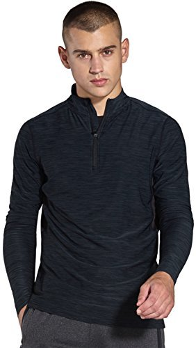 Komprexx Mens 1/4 Zip Tops – Quick Dry Activewear – Sports Training Workout Running Long Sleeve T-Shirts MC03T(Black,M)