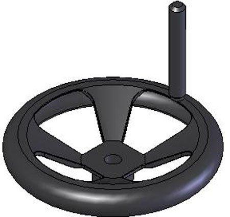 6.30'' Dia. X 1.54'', w/o Handle, 4 Spoke, 304 Stainless Steel, Hand Wheel. (1 Each)