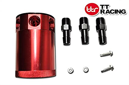 TT Racing Universal Aluminum Racing Baffled 3-Port Oil Catch Can with filter Red