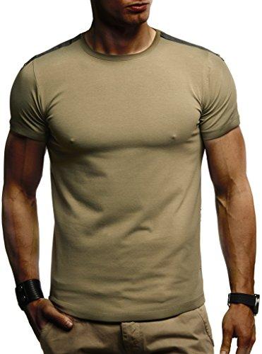 Leif Nelson Herren Sommer T-Shirt Rundhals-Ausschnitt Slim Fit Baumwolle-Anteil Moderner Männer T-Shirt Crew Neck Hoodie-Sweatshirt Kurzarm lang LN975