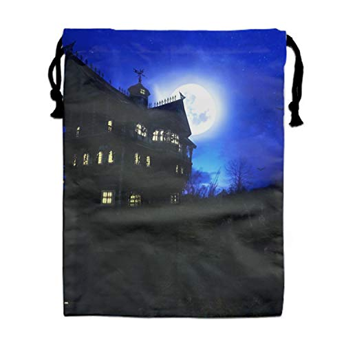 Dark House Creepy Headstone Night Haunted Halloween Drawstring Backpack Bags Goody Bags Party Favor Bags Supplies for Boys and Girls -