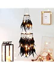 Dremisland Double Circle White Grey Feather Dream Catcher with Mobile LED Fairy Lights Wall Hanging Ornaments Ceiling Decor for Bedroom Decor Wedding Decorations Boho Chic Party Nursery Decor
