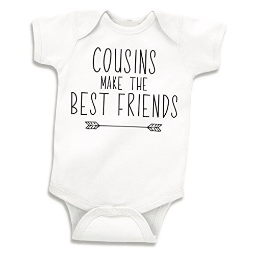 Bump and Beyond Designs Pregnancy Reveal to Family, Cousins Make the Best Friends One Piece, White, 0-3 Months