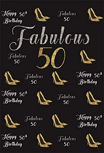 - Yeele 4x6ft Vinyl Photography Background 50th Birthday Party Fabulous 50 Gold High Heels Female Birthday Bash Ornament Celebration Adult Woman Photo Backdrops Pictures Studio Props