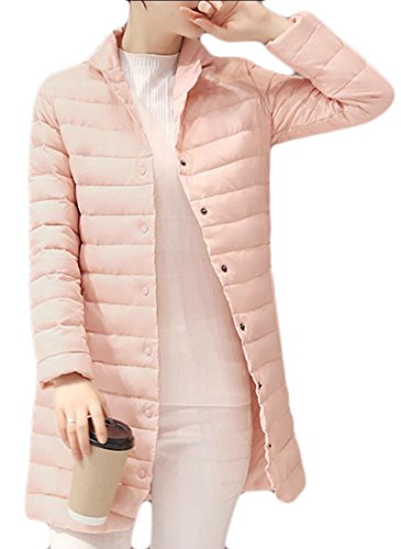 desolateness Women's Slim Lightweight Packable Mid-Length Down Jacket Coat Pink S - Abercrombie Fur Jacket