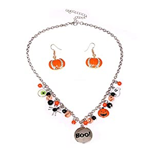 Halloween Ghost Necklace Crystal Beaded BOO Pumpkin Pendant Choker Necklace with Pumpkin Drop Earrings Jewelry Set