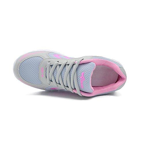 Ponyka-Frauen leichte athletische gehende Turnschuhe Breathable Tennis-Straßen-laufende Schuhe US4.5-10.5 Rosa