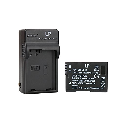 EN-EL14 Battery and Charger for D3100, D3200, D3300, D5100, D5200, D5300, D5500, DF, Coolpix P7000, P7100, P7700, P7800 Cameras by LP