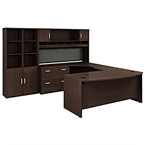 Bush Business Furniture Series C Mocha Cherry Executive U-Shaped Desk
