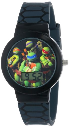 Black Patterned Dial Watch - Ninja Turtles Kids' Digital Watch with Black Bezel, Patterned Black Strap - Official TMNT Characters on The Dial, Light Weight, Safe for Children - Model: TMN4025