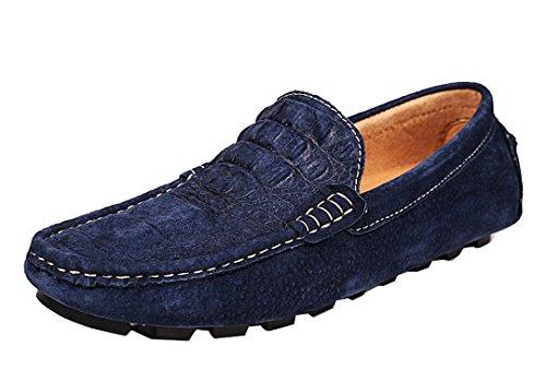 Tda Herenmode Comfortabele Lage Manchet Slip Op Leren Rijden Zakelijke Jurk Mocccasin Bootschoenen Blauw