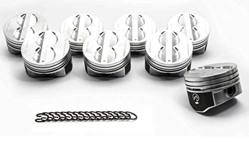 Speed Pro Flat Top Hypereutectic Pistons & Lock Rings compatible with 350 SBC Chevy's +.060 (4.060
