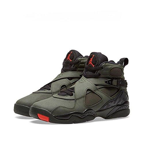 Air Jordan 8 Retro Big Kids (sequoia / max orange-black-dark stucco) Size 4.0 US by NIKE
