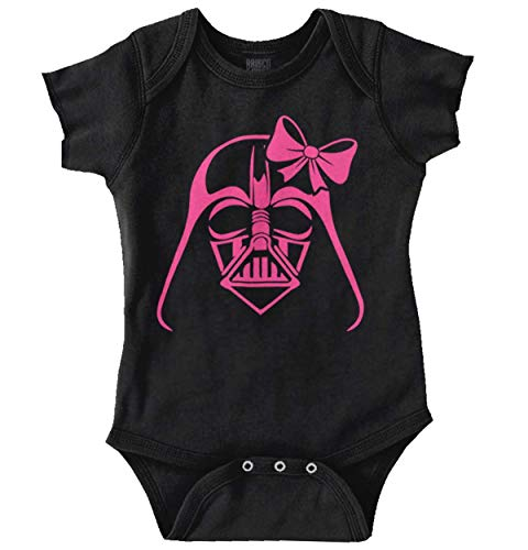 Funny Villain Bow Vader Cute Nerdy Geeky Romper Bodysuit Black -