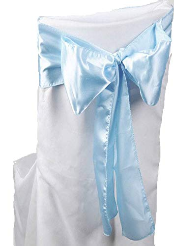 mds Pack of 50 Satin Chair Sashes Bow sash for Wedding and Events Supplies Party Decoration Chair Cover sash - Baby Blue