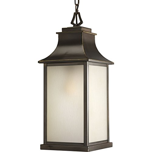 (Progress Lighting P5554-108 Salute One Light Outdoor Hanging Lantern, Oil Rubbed Bronze Finish with Etched Umber Glass)