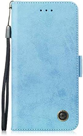 LARPOTE Samsung A10 Hülle, Premium Leder Tasche Flip Wallet Case [Standfunktion] [Kartenfächern] PU-Leder Schutzhülle Brieftasche Handyhülle-Blau.
