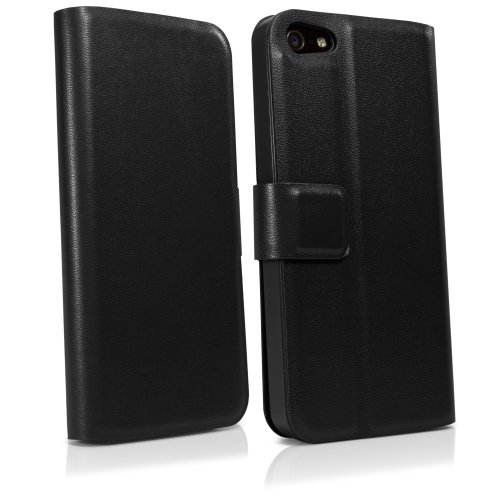 BoxWave Apple iPhone 5Étui en cuir Wallet Stand–Cordage classique Étui de protection en cuir avec support slim case pour une protection longue durée et simple Angle, cuir lisse avec fermeture magné