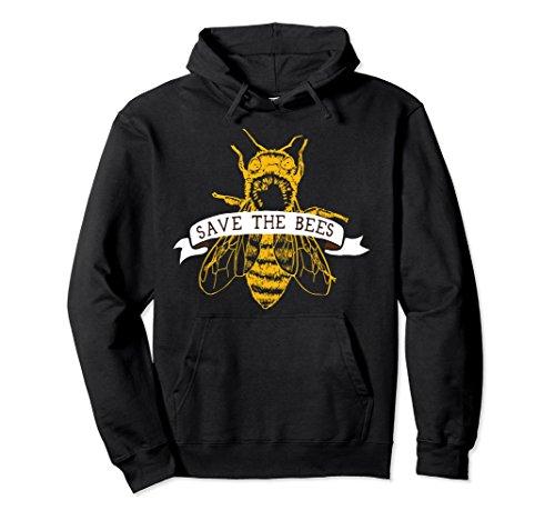 Unisex Save The Bees Honeybee Hoodie, Dark Large Black