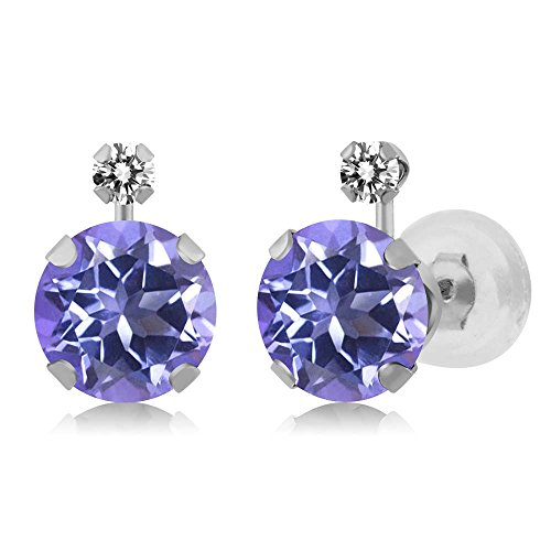Gem Stone King 2.07 Ct Round Purple Blue Mystic Topaz White Diamond 14K White Gold Earrings ()