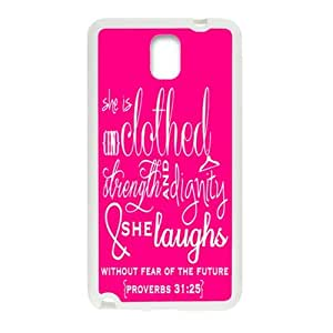 Combined With Classical and fashion Bible Quote Proverbs 31:25 Samsung Galaxy Note3 TPU(Laser Technology) Material Back Case