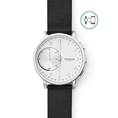 Skagen Connected Men's Hagen Stainless Steel and Leather Hybrid Smartwatch, Color: Silver, Black (Model: SKT1100) by Skagen Watches