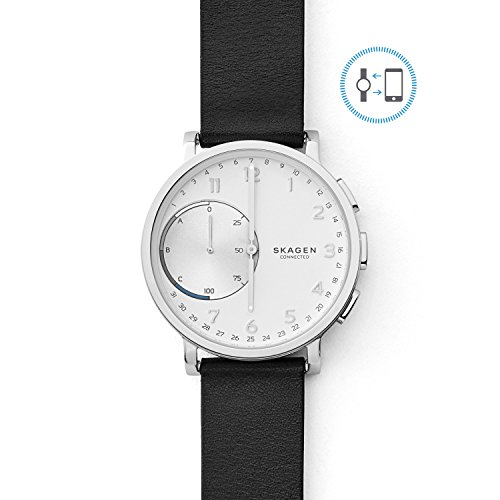 Skagen Connected Men's Hagen Stainless Steel and Leather Hybrid Smartwatch, Color: Silver, Black (Model: SKT1100)