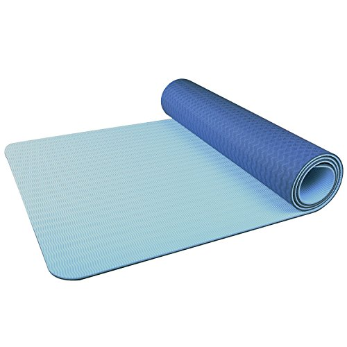 Premium TPE Non-Slip Yoga Mat,100% Eco-Friendly Tpe Material 1/4″(6mm) Travel Mat For Yoga,Exercise,Pilates,Gym,Free Carrying Strap (Dark Blue) Review