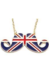 Union Jack Handlebar Mustache Necklace Hipster Beard Vintage Retro UK Flag Mod London Statement Pendant