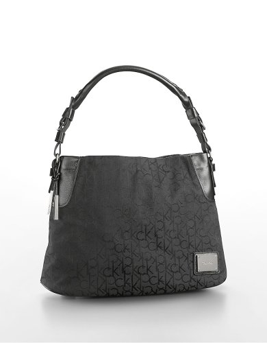 Calvin Klein Jacquard Print Cotton Hobo Handbag Black