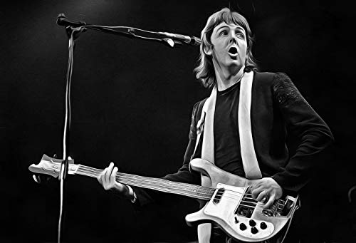 Mile High Media Paul McCartney Canvas Poster 13x19 Inch Fine Art Black and White Print Wall Art Decor - Wings - The - Paul Mccartney Poster