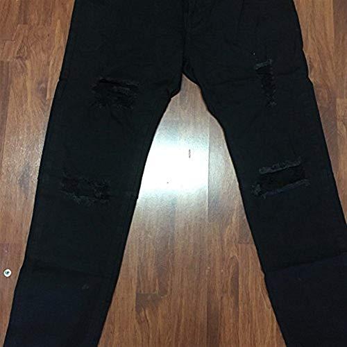 De Lateral Pantalones Spandex Elásticos Torn Negro Vaqueros Pierna Jeans RT Ropa Angustiado Cierre Fashion De ADELINA Ssige La Hombres Nero ztdqEwY