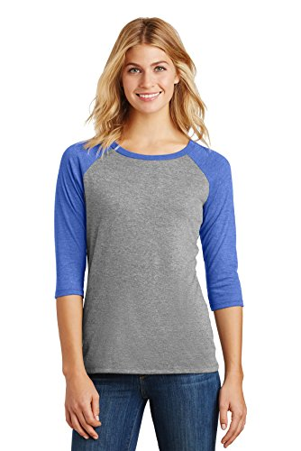 District Made Women's Perfect Tri 3/4-Sleeve Raglan DM136L Royal Frost/Grey Frost Small