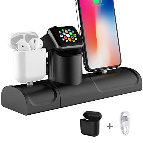 Upgraded 3 in 1 Charging Station for Apple Watch iPhone AirPods Charger Docking Stand Silicone Support for Apple Watch Series 4/3/2/1/ AirPods/iPhone XR/XS /8/8 Plus/ 7/7 Plus Black (Upgraded Style) from KEHANGDA