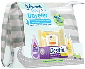 41i4wEdGHOL. AC Johnson's Tiny Traveler Baby Gift Set, Baby Bath and Skin Care Essential Products, TSA-Compliant Travel Baby Gift Set, Hypoallergenic & Paraben-Free, 5 Items    Johnson's Tiny Traveler Gift Set lets parents discover and explore with their little one. Designed with input from parents like you this baby travel gift set contains an assortment of travel-size baby essentials specially designed for baby's delicate skin and hair. Great as a baby shower gift, this travel gift set includes a baby wash and shampoo, lotion, hand and face wipes, and diaper rash cream, all tucked into a travel clutch that's made of splash-resistant materials and easy to wipe clean. The convenient clutch is small enough to carry with you when you're on the go and large enough to hold changing essentials, even a diaper. The products in this gift pack are TSA compliant; hypoallergenic; pediatrician-tested; and free of parabens, phthalates, sulfates, and dyes.