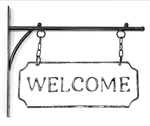 (Silvercloud Trading Co. Rustic Hanging Double-Sided Welcome Sign Embossed Black on White Enamel Metal Sign with Bracket - Home and Office Wall Decor - Room)