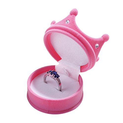 Botrong Ring Necklace Earring Box Velvet Gift Display Jewellery Case (Hot Pink) (Display Glove Case Single Boxing)