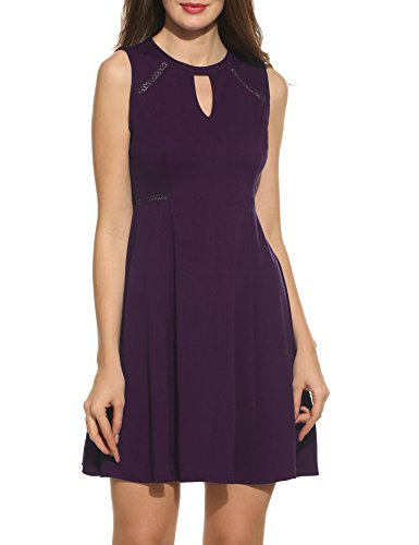 (ACEVOG Women's Sleeveless A-line Lace Stitching Evening Party Cocktail Dress (XX-Large, Purple))