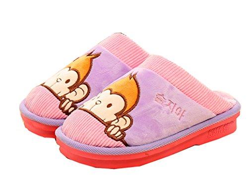 Pantofole Da Donna Di Colore Blubi Caldo Peluche Carino Scimmia Da Donna Pantofole Rosa
