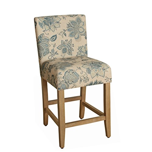 HomePop Upholstered Counter Height Barstool, 24-inch, Blue and Tan - Counter Height Upholstered Stool
