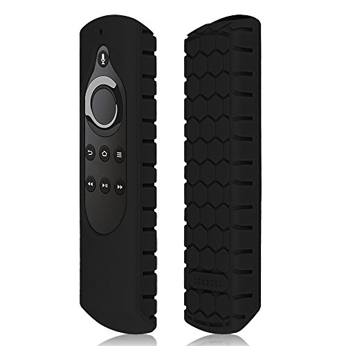 CaseBot Remote Case for Fire TV Stick 4K / Fire TV Cube/Fire TV (3rd Gen) Compatible with 1st Gen/2nd Gen Alexa Voice Remote Control - Honey Comb Series [Anti Slip] Shockproof Silicone Cover, Black