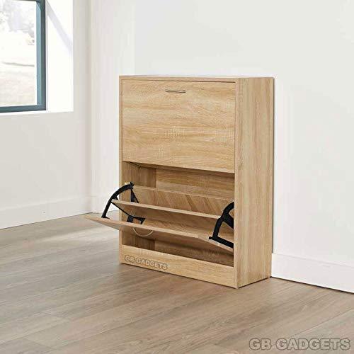 gbfurniture 2 Drawers Doors Door Shoe Cabinet Wooden Rack Cupboard Hallway Storage Organiser Back Sheet