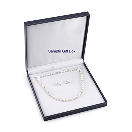 "14K Gold 6.5 7.0mm Black Akoya Cultured Pearl Necklace & Earrings Set, 17"" Length AAA Quality"