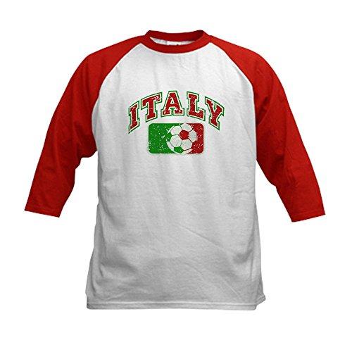 Royal Lion Kids Baseball Jersey Italy Soccer Grunge Italian Flag - Red/White, Large (14-16)