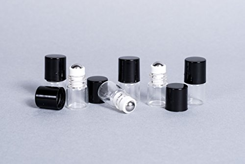 Glass Compact Ball - Everything4Oils 1ml Mini Roll on with Steel - 6 Pack