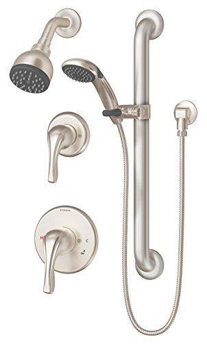 Symmons 9605-PLR-STN Origins 1-Spray Handshower & Showerhead Combo Kit, Satin Nickel