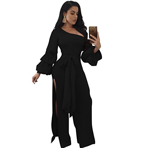 Speedle Womens Sloping Shoulder Long Sleeves Double Layers Lace up Split Jumpsuit Romper Black S