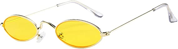 Thenxin Women Mens Vintage Retro Oval Sunglasses Ellipse Metal Frame Trendy Fashion Shades Aviator Glasses